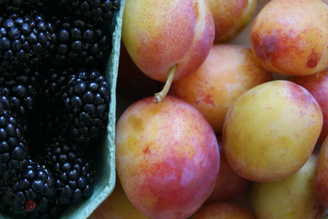 Blackberries and plums