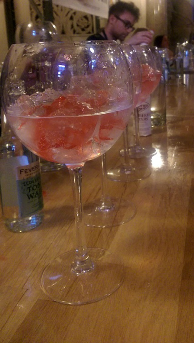 A line of Liverpool Rose's at a gin festival (why do gin festivals not happen more?)