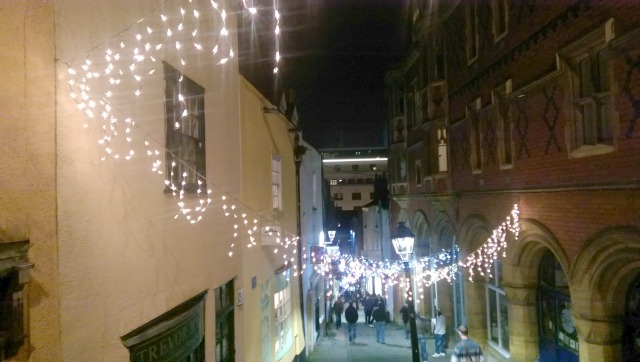 Christmas lights on Christmas Steps